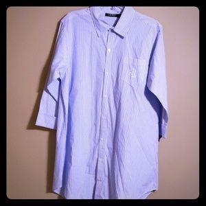 Ralph lauren light blue & white striped 3/4 sleeve